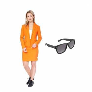 Carnavals carnavalskleding oranje dames (l) gratis zonnebril den bosc