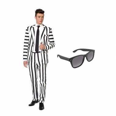 Carnavalscarnavalskleding zwart/witte strepen print heren carnavalskl