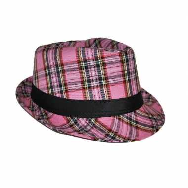 Al capone hoed ruit roze carnavalskleding den bosch