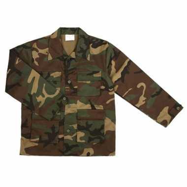 Carnavalskleding army jas kinderen woodland camouflage