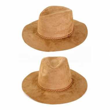 Beige verkleed cowboy hoed beige volwassenen carnavalskleding den bos