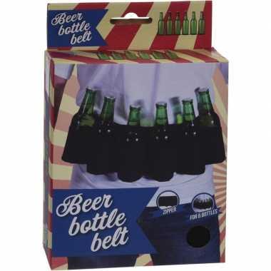 Bierfles riem zwart vrijgezellen feest artikelen carnavalskleding den