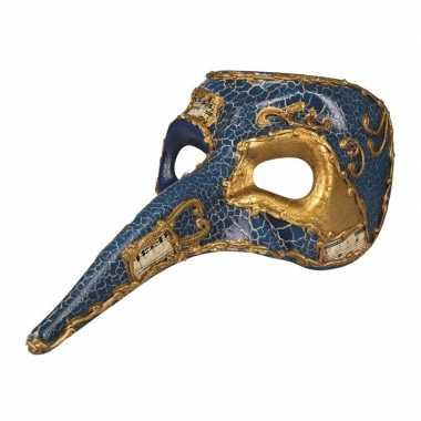 Blauw mysterieus snavelmasker glimmend heren carnavalskleding den bos