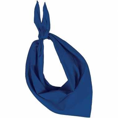 Blauwe basic bandana/hals zakdoeken/sjaals/shawls volwassenen carnava