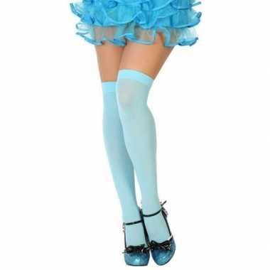Blauwe hoge verkleed kousen dames carnavalskleding den bosch