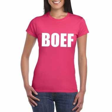 Boef fun t shirt roze dames carnavalskleding den bosch