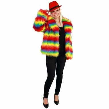 Bontjas gekleurde strepen dames carnavalskleding den bosch