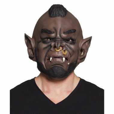 Bruine aardman horror/halloween masker latex carnavalskleding den bos