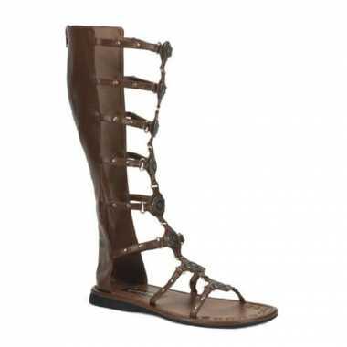 Bruine nep lederen Romeinse sandalen heren carnavalskleding Den Bosch