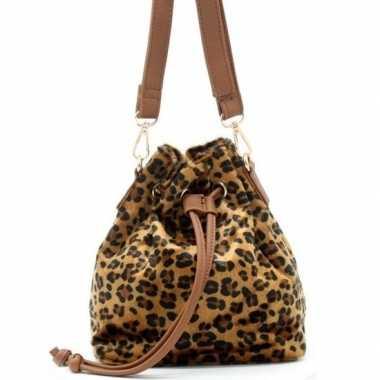 Bruine/zwarte luipaardprint schoudertas/cross body tas/bucket bag nel