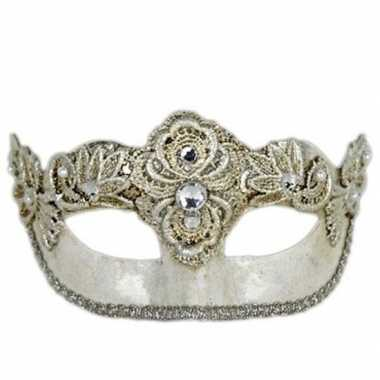 Colombina italiaans oogmasker zilver carnavalskleding den bosch