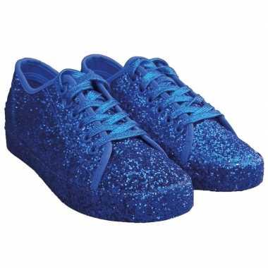 Dames disco sneakers blauwe glitter carnavalskleding den bosch