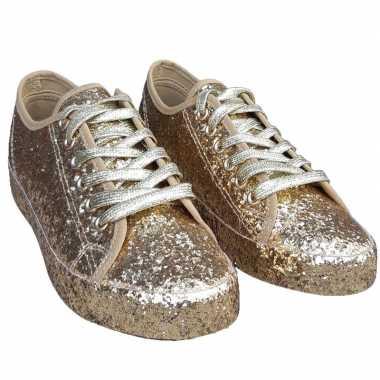 Dames disco sneakers gouden glitters carnavalskleding bosch