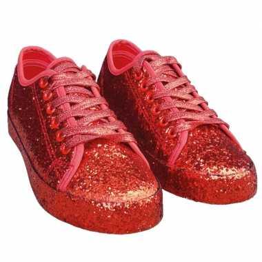 Dames disco sneakers rode glitters carnavalskleding den bosch