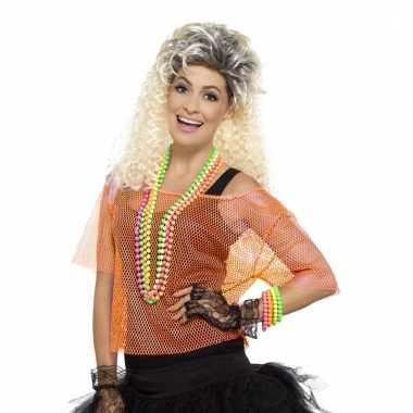 Carnavalskleding dames gaatjes shirt neon oranje
