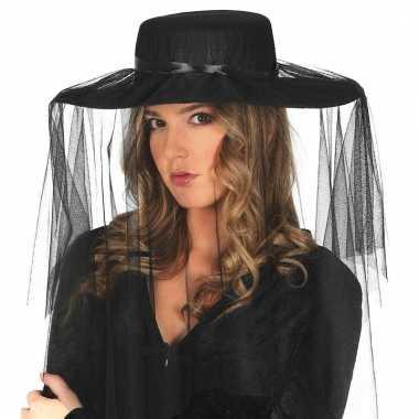 Dames hoedje sluier zwart carnavalskleding den bosch