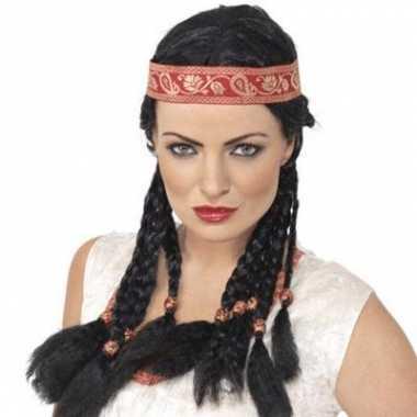 Dames indianenpruik zwart carnavalskleding den bosch