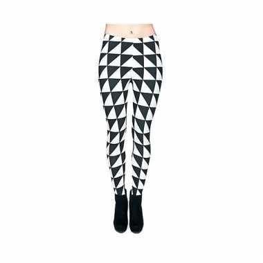 Dames legging aparte zwart/witte print carnavalskleding den bosch