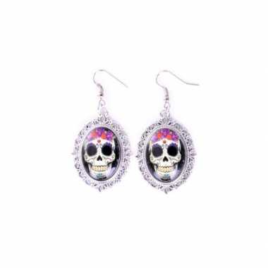 Day of the dead skull oorbellen zilver type carnavalskleding den bosc