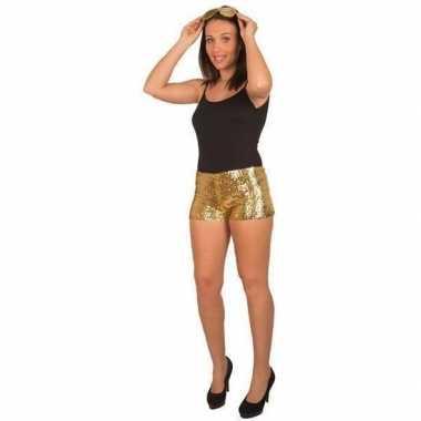Disco broekje gouden pailletten dames carnavalskleding bosch