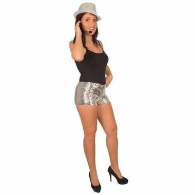 Carnavalskleding disco broekje zilveren pailletten dames