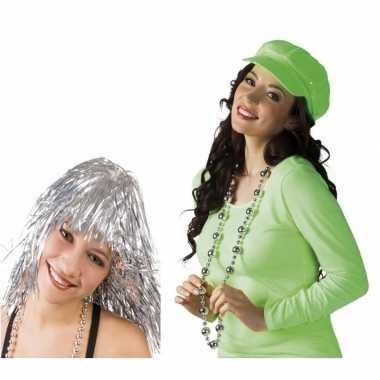 Disco verkleed accessoires zilveren pruik ketting carnavalskleding de