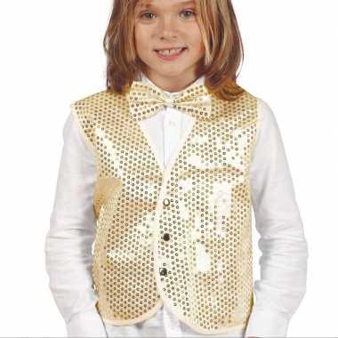 Disco verkleed gilet goud pailletten kinderen carnavalskleding den bo