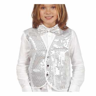 Disco verkleed gilet zilver pailletten kinderen carnavalskleding den