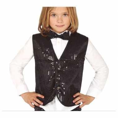 Disco verkleed gilet zwart pailletten kinderen carnavalskleding den b
