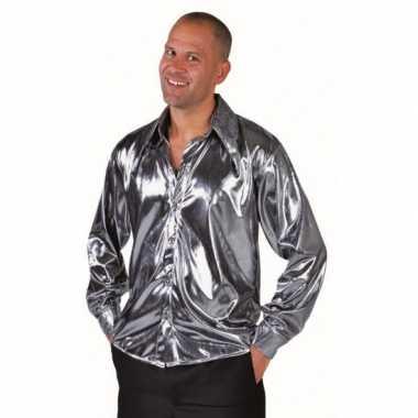 Carnavalskleding disco zilveren overhemd heren