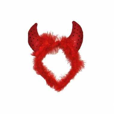 Carnavalskleding duivel haarband veren pailletten