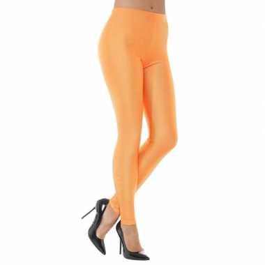 Elastische neon oranje dames legging carnavalskleding den bosch