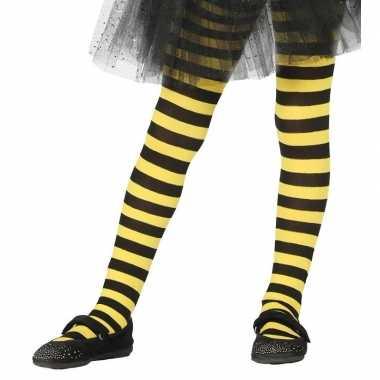 Feest/party gestreepte heksen panty maillot zwart/geel meisjes carnav