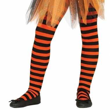 Feest/party gestreepte heksen panty maillot zwart/oranje meisjes carn