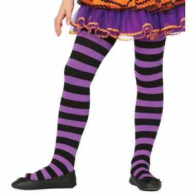 Feest/party gestreepte heksen panty maillot zwart/paars meisjes carna