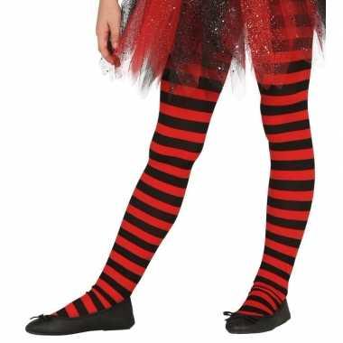 Feest/party gestreepte heksen panty maillot zwart/rood kinderen carna