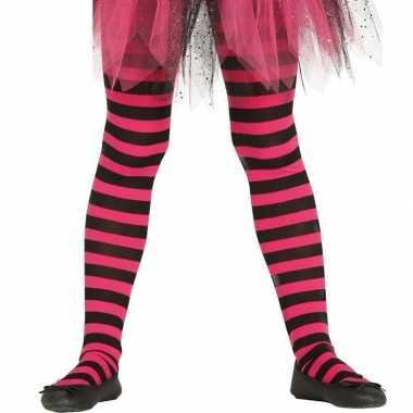Feest/party gestreepte heksen panty maillot zwart/roze meisjes carnav