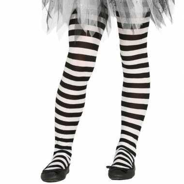 Feest/party gestreepte heksen panty maillot zwart/wit meisjes carnava