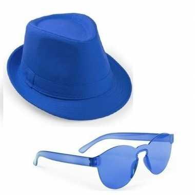 Feest setje blauwe gleufhoed zonnebril carnavalskleding den bosch