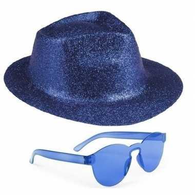 Feest setje blauwe glitter hoed zonnebril carnavalskleding den bosch