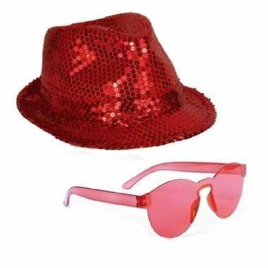 Feest setje rode glitter hoed zonnebril carnavalskleding den bosch