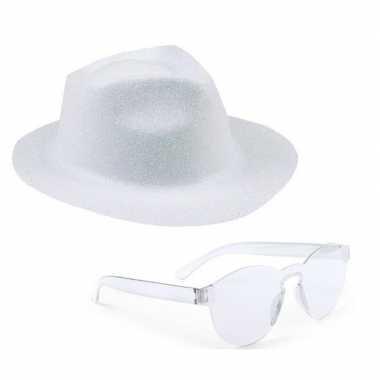 Feest setje witte glitter hoed zonnebril carnavalskleding den bosch