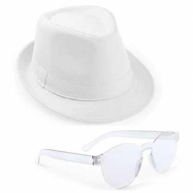 Feest setje witte trilby hoed zonnebril carnavalskleding den bosch