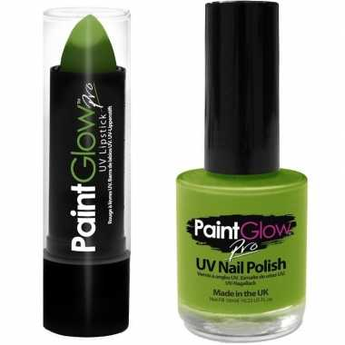 Felgroene/neongroene lippenstift/lipstick nagellak uv/glow the dark c