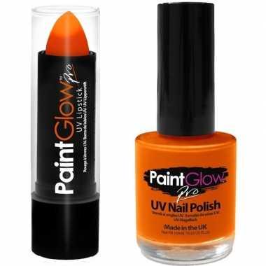 Feloranje/neonoranje lippenstift/lipstick nagellak uv/glow the dark c
