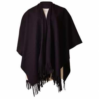 Carnavalskleding fleece poncho zwart