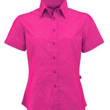 Fuchsia gekleurd dames overhemd korte mouwen carnavalskleding Den Bos