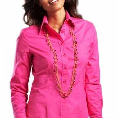 Carnavalskleding fuchsia gekleurd dames overhemd lange mouwen