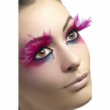 Fuchsia roze veren wimpers carnavalskleding den bosch
