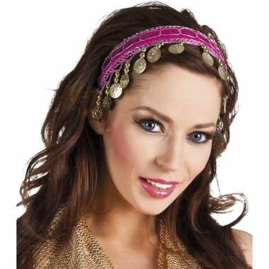 Fuchsia roze verkleed/feest buikdanseressen hoofdband/diadeem dames/v